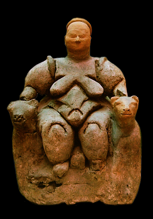 Seated Mother Goddess flanked by two lionesses from Çatalhöyük (Turkey), Neolithic age (about 6000-5500 BCE), today in Museum of Anatolian Civilizations in Ankara Doubts about accuracy of this description are presented in Wikipedia:Talk:Cybele #Seated Woman of Çatalhöyük.